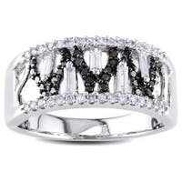 Miadora Signature Collection 14k White Gold 1/2ct TDW Black and White Diamond Ring