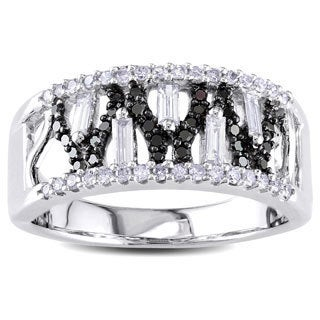 Miadora Signature Collection 14k White Gold 1/2ct TDW Black and White Diamond Ring (2 options available)