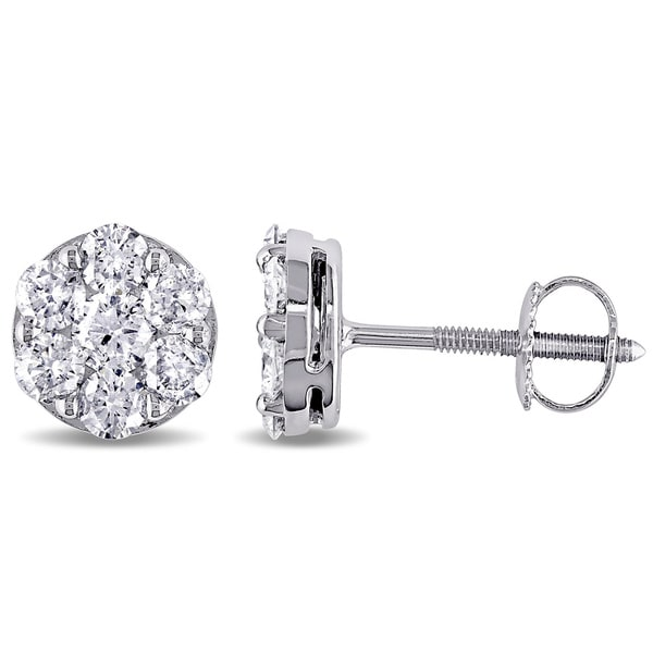Miadora 14k White Gold 1 1/10ct TDW Diamond Stud Earrings