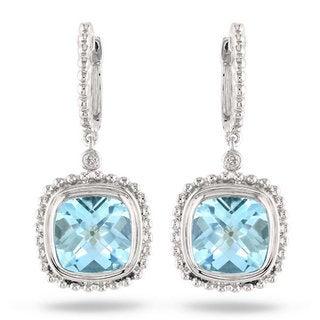 Miadora Sterling Silver 8 1/2ct TGW Cushion-cut Blue Topaz and Diamond Accent Drop Earrings