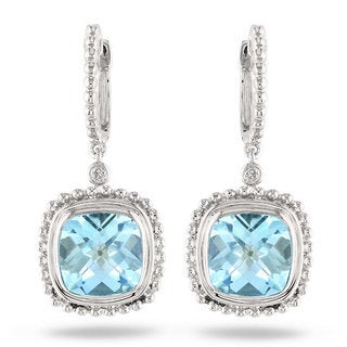 Miadora Sterling Silver 8 1/2ct TGW Cushion-cut Blue Topaz and Diamond Accent Drop Earrings