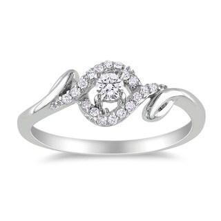 Miadora 10k White Gold 1/5ct TDW Round Diamond Ring