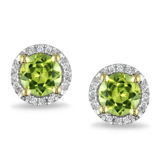 Miadora 10k Yellow Gold 1 1/8ct TGW Peridot and Diamond Accent Earrings