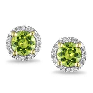 Miadora 10k Yellow Gold 1 1/8ct TGW Peridot and Diamond Accent Earrings