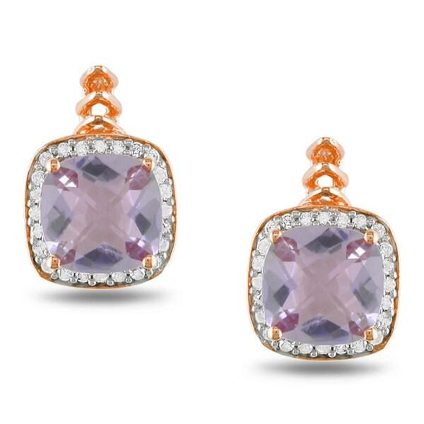 Miadora Silver 2 1/5ct TGW Rose de France and 1/5ct TDW Diamond Earrings (G-H, I3)