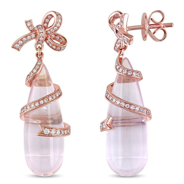 Miadora Signature Collection 18k Pink Gold 26 1/2ct TGW Rose Quartz 1/3ct TDW Diamond Earrings (G-H, SI1)