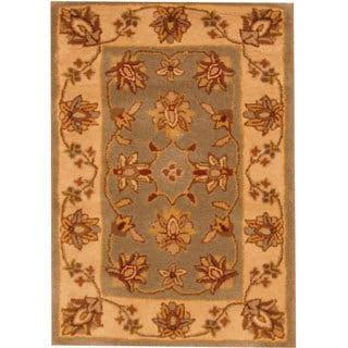 Herat Oriental Indo Hand-tufted Mahal Light Blue/ Beige Wool Rug (2' x 3')