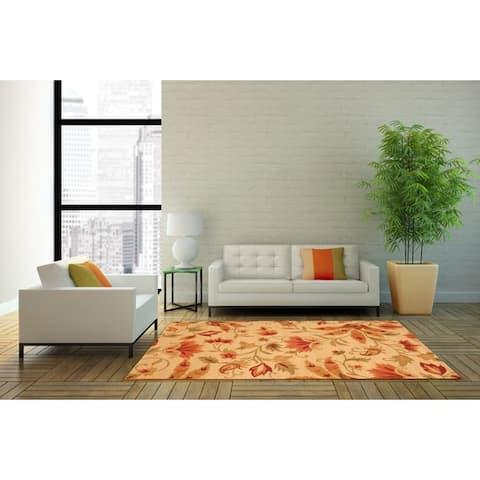 Handmade Floral Wool Rug (India) - 4' x 6'