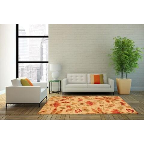 Handmade Herat Oriental Indo Floral Wool Rug - 4' x 6' (India)