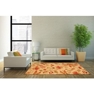 Herat Oriental Indo Hand-tufted Floral Wool Rug (4' x 6')