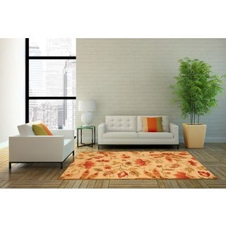 Herat Oriental Indo Hand-tufted Floral Wool Rug (4' x 6') - 4' x 6'