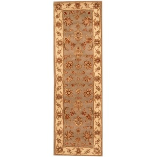Herat Oriental Indo Hand-tufted Mahal Light Blue/ Beige Wool Rug (2'6 x 8')