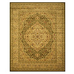 Green Traditional Oriental Green Medallion Kars Tabriz Rug (5'3 x 7'3)