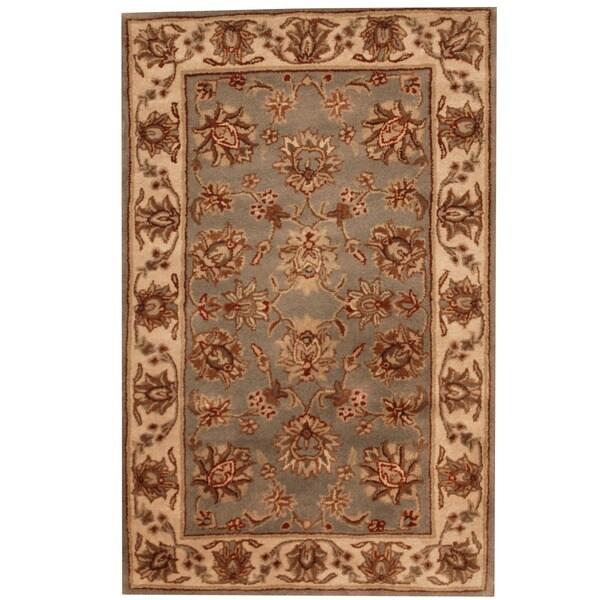 Herat Oriental Indo Hand-tufted Mahal Floral Light Blue/ Beige Wool Rug (3'3 x 5'3)