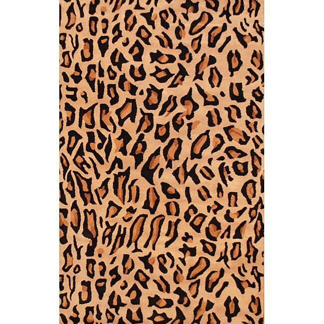 Herat Oriental Indo Hand-tufted Cheetah-print Wool Rug (5' x 8')
