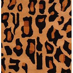 Herat Oriental Indo Hand-tufted Cheetah-print Wool Rug (2' x 3') - Thumbnail 1