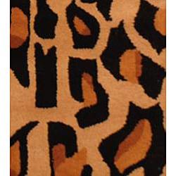 Herat Oriental Indo Hand-tufted Cheetah-print Wool Rug (2' x 3') - Thumbnail 2
