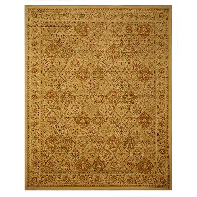 Ivory Traditional Oriental Panel Kashmir Rug (5'3 x 7'3)