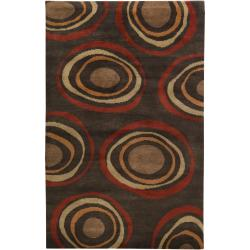 Hand-knotted Brown Circles Bakewell Wool Geometric Rug (5' x 8')