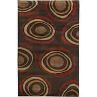 Hand-knotted Brown Circles Bakewell Wool Geometric Area Rug - 5' x 8'