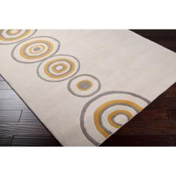 Hand-tufted Contemporary Beige Circles Axbridge New Zealand Wool Abstract Rug (5' x 8') - Thumbnail 1