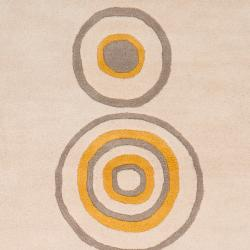 Hand-tufted Contemporary Beige Circles Axbridge New Zealand Wool Abstract Rug (5' x 8') - Thumbnail 2