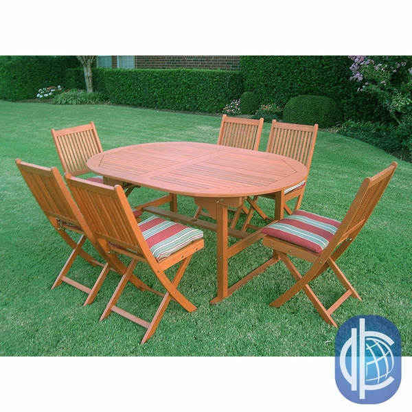 """International Caravan Royal Tahiti """"Palma"""" Seven Piece Outdoor Dining Group Oval Butterfly Extension Table"""