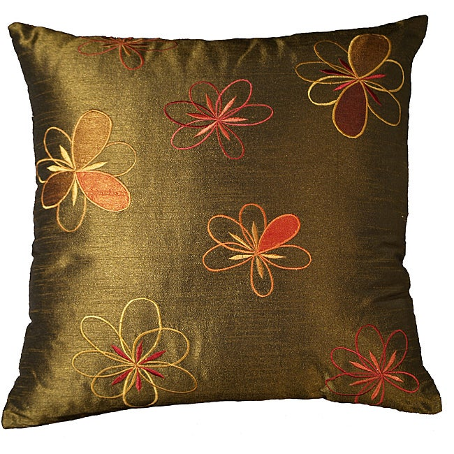 LNR Home Ivy Colored Adel Flowers 18-inch Pillow