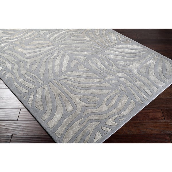 Hand-tufted Grey Zebra Animal Print Clichy Wool Area Rug