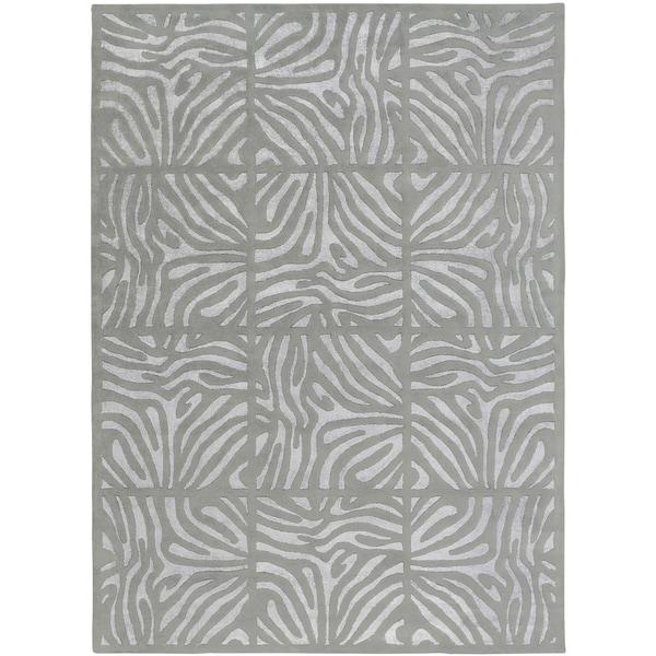 Animal Print Rug Grey: Shop Hand-tufted Grey Zebra Animal Print Clichy Wool Area
