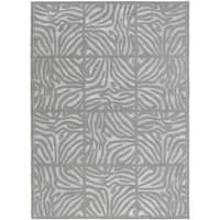 Hand-tufted Grey Zebra Animal Print Clichy Wool Area Rug (8' x 11')