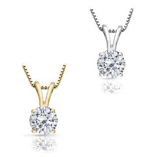 Auriya 14k Gold 1.00ct TDW Round Diamond Solitaire Necklace