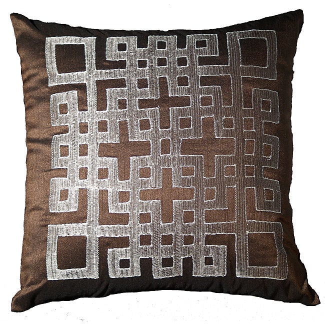 LNR Home Chocolate Geo-Ando 18-inch Pillow