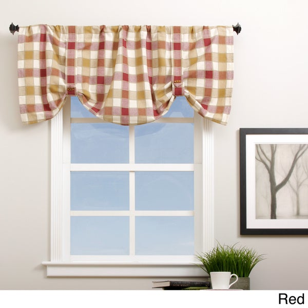 Plymouth Plaid 21-inch Valance with Button Straps - 21 x 21