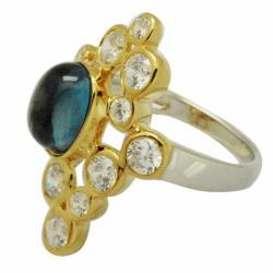 De Buman 18K Gold and Silver Blue Round-cut Topaz and Round Cubic Zirconia Ring - Thumbnail 1