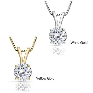 Auriya 1 Carat TDW Round Solitaire Diamond Necklace 14k Gold