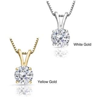14k Gold 1ct TDW Round Diamond Solitaire Necklace