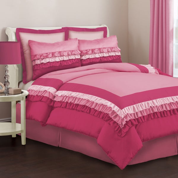 Lush Decor Starlet Pink 4-Piece Full-size Comforter Set