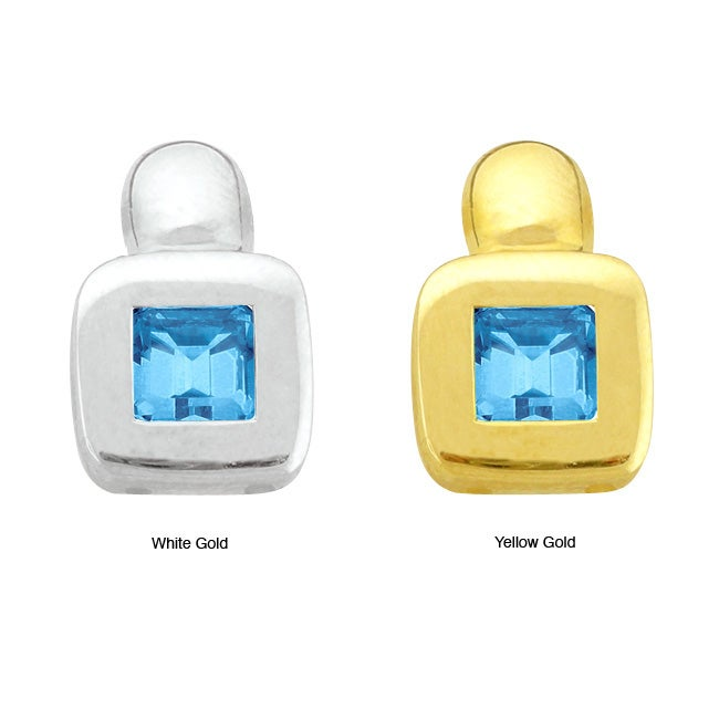 10k Gold Synthetic Blue Zircon Contemporary Square Earrings