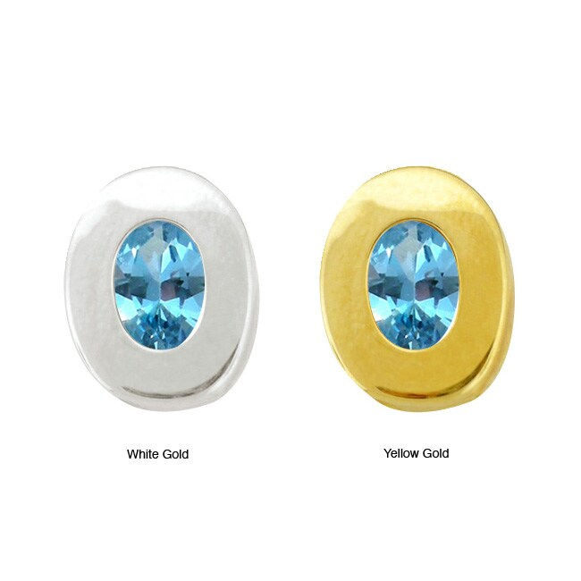 10k Gold Synthetic Blue Zircon Contemporary Oval Earrings
