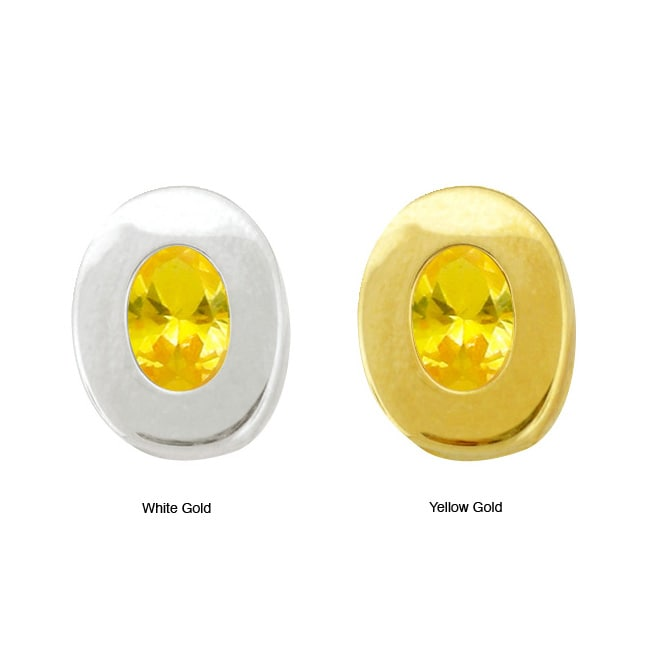10k Gold Synthetic Golden Topaz Contemporary Oval Earrings