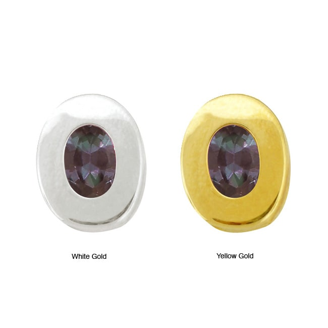 10k Gold Synthetic Alexandrite Contemporary Oval Earrings