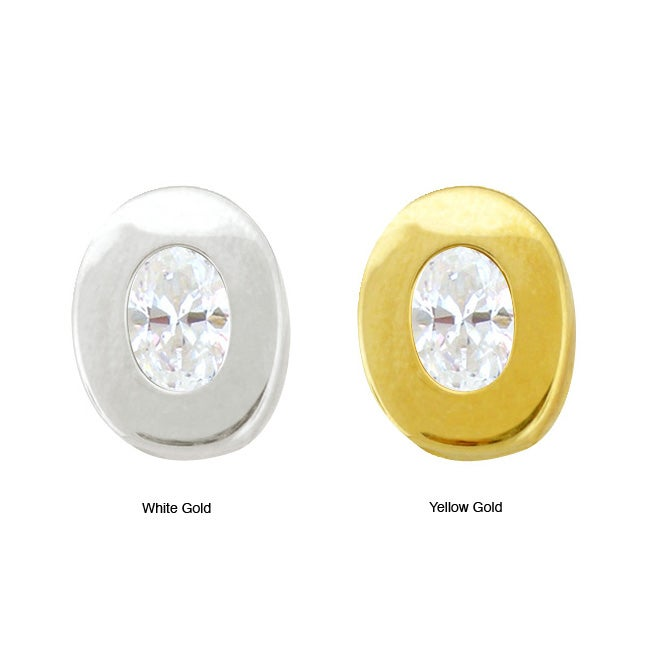 10k Gold Synthetic White Zircon Contemporary Oval Earrings