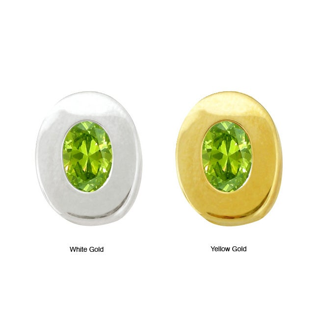 10k Gold Synthetic Peridot Contemporary Oval Earrings