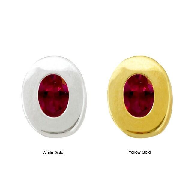10k Gold Synthetic Garnet Oval Earrings