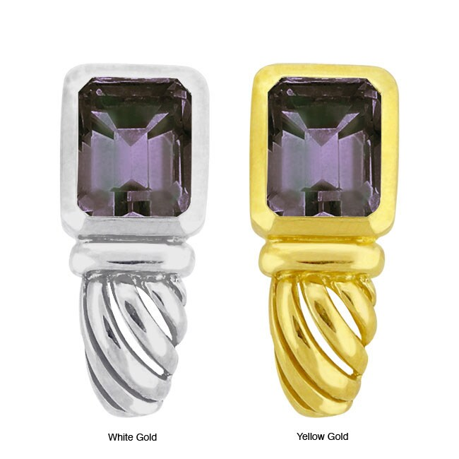 10k Gold Synthetic Alexandrite Contemporary Earrings