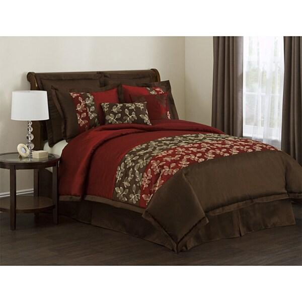 Lush Decor Lila Red Chocolate 8 Piece Full Size Comforter Set