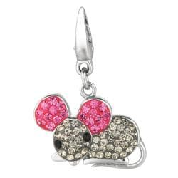Sterling Silver Pink and Clear Crystal Mouse Charm