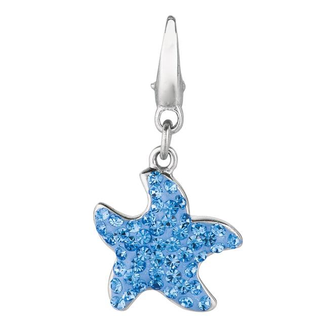 ab800e6649724 Sterling Silver Blue Crystal Starfish Charm
