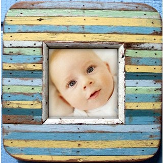 Handmade Recycled Boat Wood Blue Stripes 4x6 Picture Frame (Thailand)